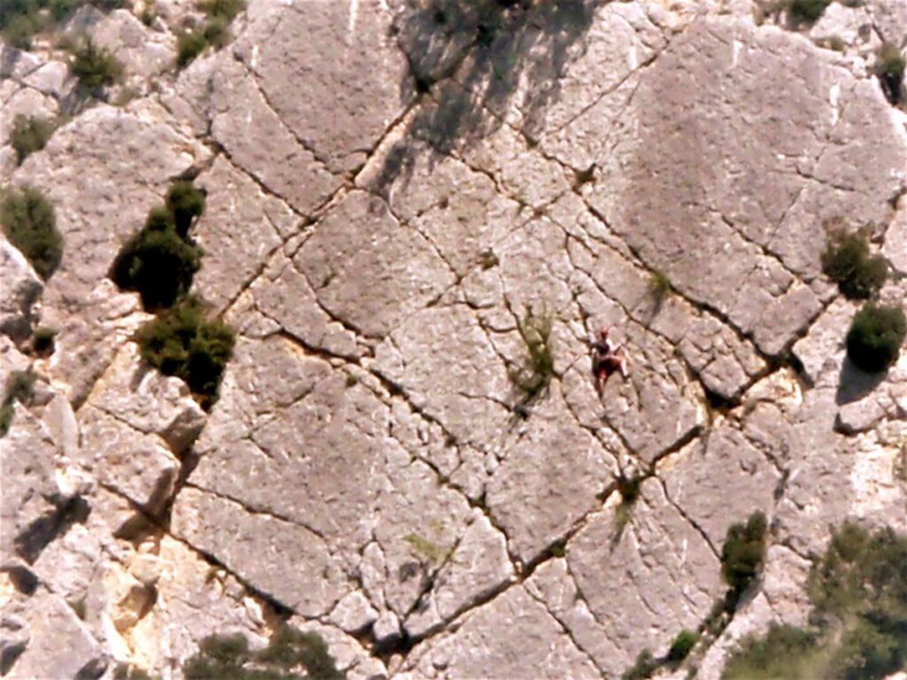 Frankreich Aiguines Klettern Galetas Sektor FAB mit Kletterer