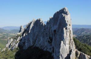 Frankreich Klettern Dentelles de Montmirail Kante