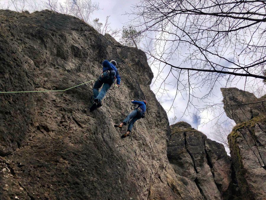 Deutschland Klettern Römerstein Kessel Hauptwand