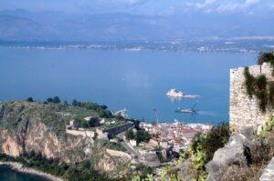 Griechenland Argolis Blick auf Nafplio